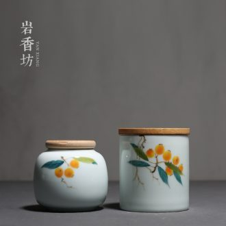 YanXiang fang hand-painted loquat small wooden cover caddy ceramic seal POTS celadon