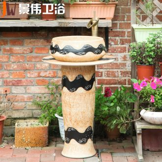 JingWei ceramic lavabo floor pillar basin vertical integration pillar type lavatory toilet stage basin