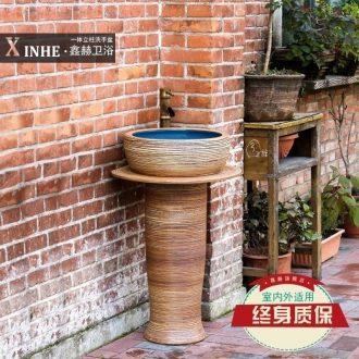 The sink ceramic basin of pillar type column landing stage basin integrated art balcony small bathroom toilet commode pool
