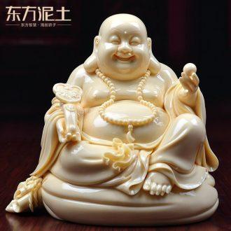 Oriental clay ceramic laughing Buddha furnishing articles dehua jade sculpture art/Huang Ruyi maitreya D34-109 - a