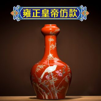 Better sealed kiln jingdezhen ceramic vase red garlic bottle home furnishing articles rich ancient frame craft porcelain small living room