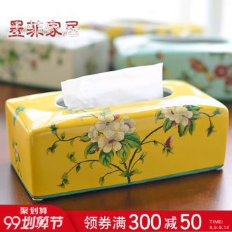 Murphy's new Chinese famille rose porcelain smoke box American country desktop boxes sitting room adornment napkin tissue box