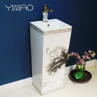 Million birds ceramic basin of pillar type lavatory basin sink pillar integrated vertical home floor toilet