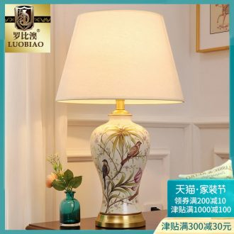 Desk lamp of bedroom the head of a bed lamp, contemporary and contracted creative new Chinese style living room warm and romantic home adjustable light ceramic lamp