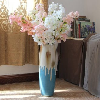 Art show vase color glaze ceramic vases, flower vase sitting room American country ground vase furnishing articles