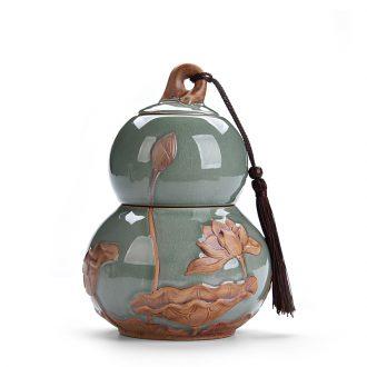 Chen xiang ru kiln caddy ceramic seal tank storage tanks to calving caddy large-sized longquan celadon POTS
