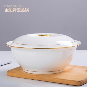 Jingdezhen with cover round ceramic soup pot pot bone China phnom penh soup pot creative large-sized domestic large bowl of soup bowl