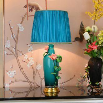 American colored enamel lamp bedroom berth lamp study European copper decoration restoring ancient ways is the sitting room all villa ceramic desk lamp