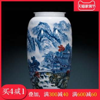 Master of jingdezhen hand-painted ceramics vase jiangshan jiao sitting room adornment study Chinese calligraphy and painting cylinder furnishing articles