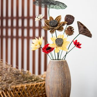 Zen dried flower vase decoration furnishing articles sitting room wood quality pottery flower arranging vintage Japanese coarse some ceramic porcelain flowers