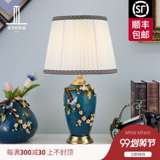 New Chinese style full copper enamel lamp sitting room lamps and lanterns of bedroom the head of a bed artical luxurious ceramic crystal lamp