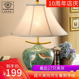 Santa marta tino ceramic color european-style lamp lights sitting room luxury retro hand-painted cloth art desk lamp of bedroom the head of a bed