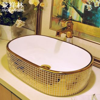 European square stage basin ceramic household lavatory basin sink sink art basin