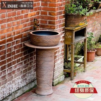 The sink basin of pillar type column small ceramic wash a face to the balcony outdoor toilet toilet one ground pool basin