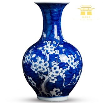 Jingdezhen ceramics antique blue and white porcelain vases, flower arranging plum flower Chinese style living room TV wine decorations furnishing articles