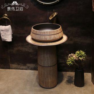 Ceramic antique one-piece pillar sink basin balcony column basin bathroom floor creative lavatory