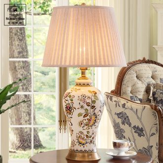 Jingdezhen ceramic desk lamp full copper lamp sitting room of Chinese style bedroom adornment hand-painted retro creative ceramic desk lamp