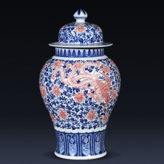 Jingdezhen ceramics imitation qianlong hand-painted double phoenix new Chinese style living room furnishing articles general blue and white porcelain jar with a lid