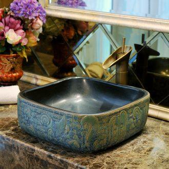 Stage basin square classic ceramic art basin sink that defend bath lavatory basin antique bronze