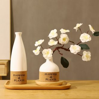 Japanese home stay facility ceramic vase literary desktop dried flowers letter bottle hydroponic wintersweet fake flower flower decoration