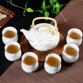 Ronkin Japanese tea tea set suit household contracted ceramic teapot kung fu tea cups white porcelain tea set