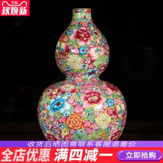Jingdezhen ceramics hand-painted pastel gourd vases, antique Chinese style living room porch rich ancient frame decorations furnishing articles