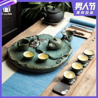 Tao fan home drainage tea tray kiln creative Chinese kung fu tea tray ceramic lotus Taiwan sea water tea