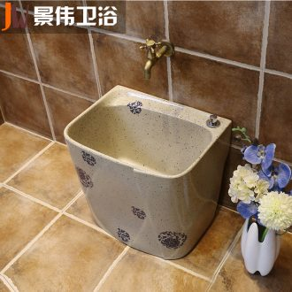 Household balcony JingWei mop pool blue toilet ceramic wash mop pool table control automatic mop pool water