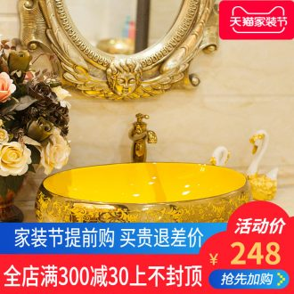 On the ceramic POTS on the oval wash gargle lavabo lavatory basin bathroom art basin of household