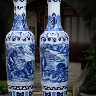 Jingdezhen furnishing articles hand-painted kumsusan river of blue and white porcelain vase home sitting room ground adornment opening gifts