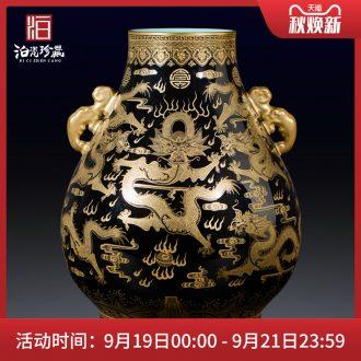 Jack imitation qing sharply jingdezhen ceramics glaze Jin Longshuang ear great vase Chinese style household adornment furnishing articles