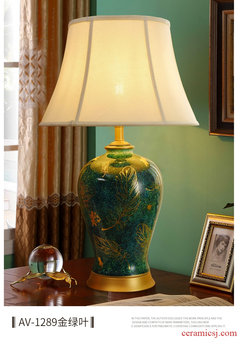 British antique green leaf full copper ceramic desk lamp American country big yards example room design of the sitting room the bedroom the head of a bed