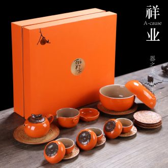 Auspicious industry kung fu tea cup suit Chinese family all the best of a complete set of persimmon ceramic teapot customize logo