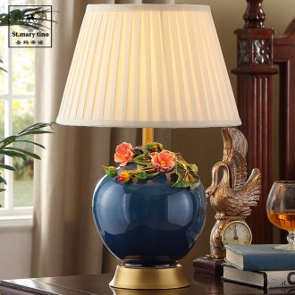 Colored enamel copper all new Chinese style ceramic desk lamp light red wedding sweet romance restoring ancient ways small desk lamp of bedroom the head of a bed