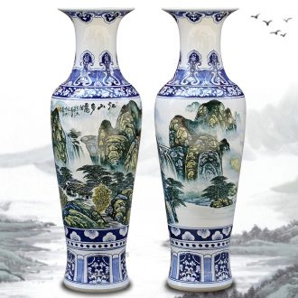 Jingdezhen ceramic hand-painted landscape painting more than jiangshan jiao of large vases, furnishing articles sitting room of Chinese style household act the role ofing is tasted