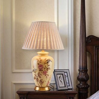 American ceramic desk lamp sitting room european-style rural study atmospheric new Chinese style villa hotel full copper lamp of bedroom the head of a bed