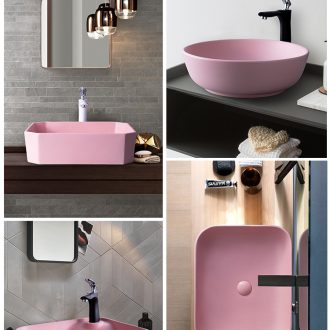 Pink stage basin square art of jingdezhen ceramic household lavatory toilet lavabo simple small bathroom