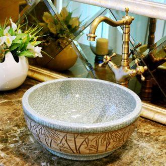 Round the stage basin ceramic art basin Europe type restoring ancient ways ice crack basin basin lavatory toilet hand basin