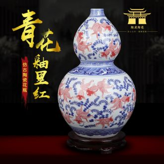 Jingdezhen ceramics antique vase blue-and-white youligong feng shui gourd home furnishing articles collectables - autograph sitting room adornment