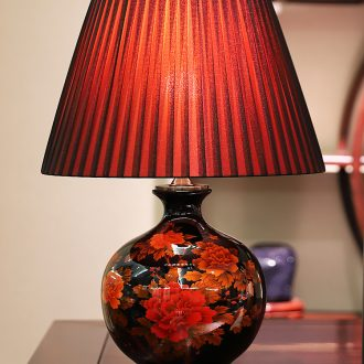 New Chinese style lamp ceramic decoration art modern married rich red copper lamps and lanterns of the sitting room the bedroom of the head of a bed