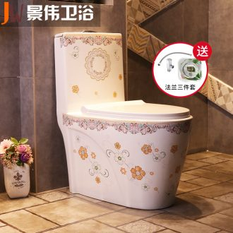 JingWei implement color ceramic implement adult toilet clean water siphon toilet bowl is home