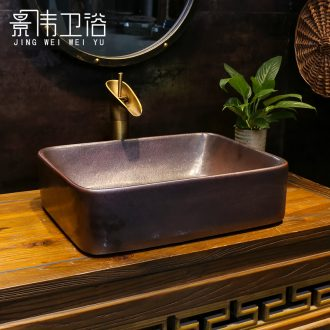 Copper art stage basin rectangle European ceramic lavatory toilet lavabo sink basin