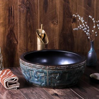 Jingdezhen ceramic circular Chinese character art hotel toilet lavabo bronze plate washing a face basin basin that wash a face