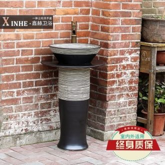 Ceramic pillar lavabo small basin bathroom balcony ground integrated household outdoor art basin of wash column