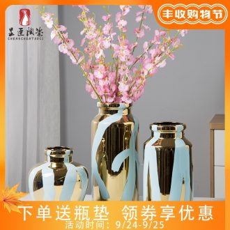 Jingdezhen ceramic golden vase northern wind household decorations show China vase dried flowers