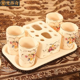 Vatican Sally set, bathroom five ceramic furnishing articles european-style bathroom toilet wash gargle brush my teeth cup suit