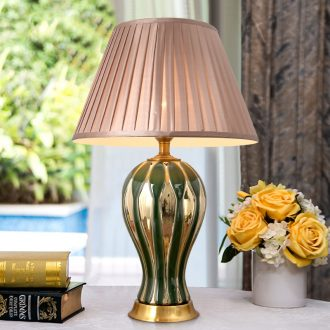 American desk lamp ceramic decoration lamp modern Chinese style simple atmospheric creative living room bedroom lamps and lanterns of the head of a bed