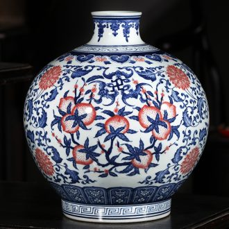 Jingdezhen ceramics hand-painted antique blue and white porcelain vases, flower arranging new classical Chinese style household decorations furnishing articles