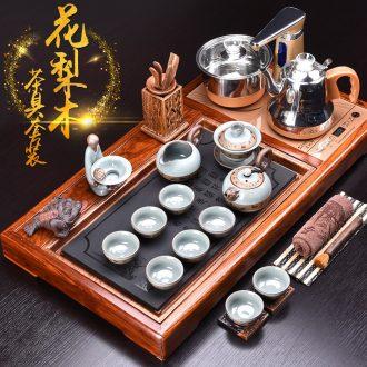 HaoFeng kung fu tea set ceramic teapot automatic four unity hua limu tea table ground suit household electric heating furnace