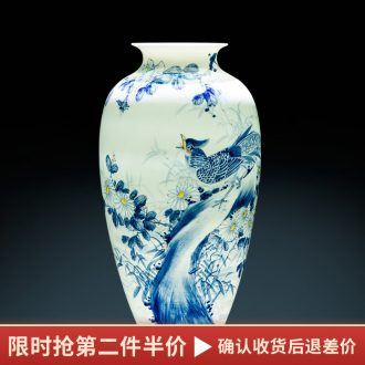 Master of jingdezhen ceramics hand-painted blue and white porcelain vase furnishing articles of Chinese style adornment porch decoration large sitting room